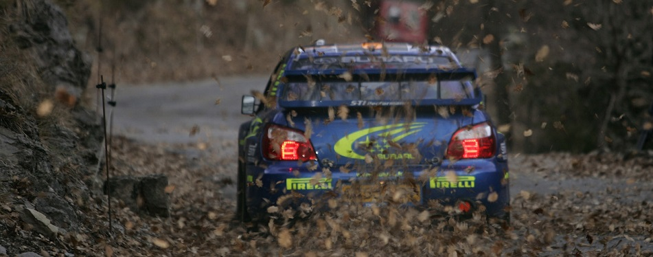 Subaru driver Stephane Sarrizin in action on special stage 4 in his Impreza WRC04, during leg one, Rally Monte Carlo 2005.